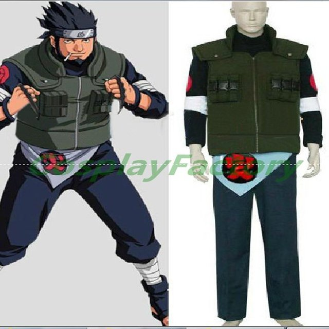 Free Shipping Fast Custom Made Naruto Anime Cosplay Asuma Fullset Party Winter Costume Gift With Shoes