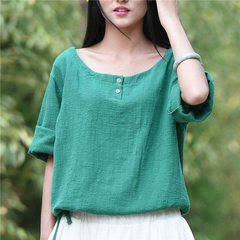 Solid White Cotton Linen O neck font b Women b font Blouse font b Shirts b