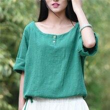 Solid White Cotton Linen O-neck Women Blouse Shirts Loose Casual Summer Shirt Blouse Brand Design Cute Kawaii Shirts Tops B124
