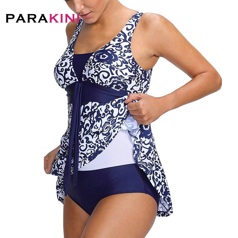 PARAKINI Plus Size Swimwear Female Polka Print One Piece Swimsuit Women Vintage Bathing One-Piece Suit Retro Large Size Swimsuit low cut vintage peplum one piece swimsuit