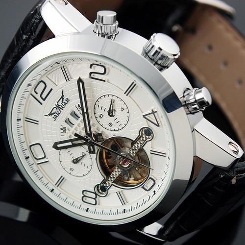Jargar New Automatic Mechanical Wristwatches Bussiness Dress Watch Tourbillon Silver Color for Men цена и фото