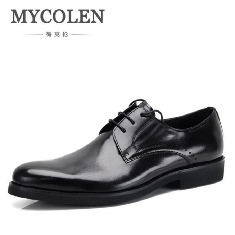 MYCOLEN Men's Shoe Man Lace Up Genuine Leather Formal Shoes Cowhide British Fashion Business Dress Shoes Chaussure Homme Cuir