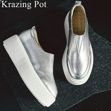 2019 genuine leather slip on round toe thick bottom sneaker increasing solid elegant platf