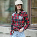 Veri Gude Women's Blouses British Style Slim Fit Long Sleeve Plaid Shirt Free Shipping