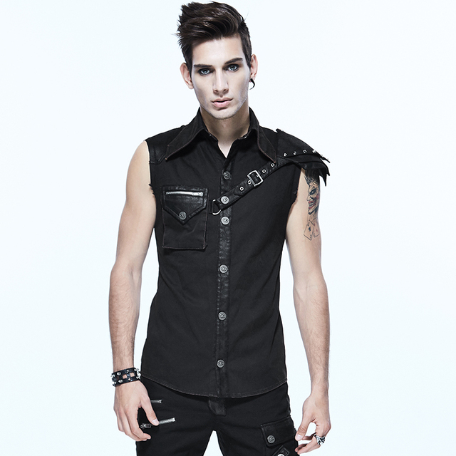 c5a332d8 Devil Fashion Punk Soldier Shirts Sleeveless Men Shirt Steampunk Vintage  Turn-down Collar Shirt with Detachable Epaulets
