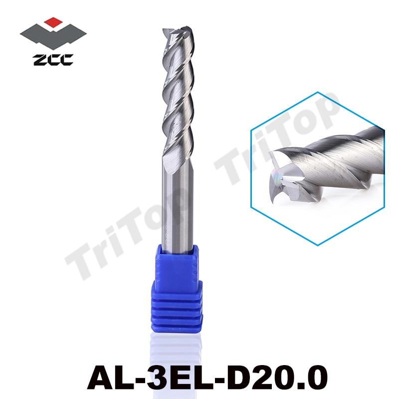 100% Guarantee Original ZCCCT AL-3EL-D20.0 Solid carbide 3 flute flattened end mill 20mm extension type long cutting edge