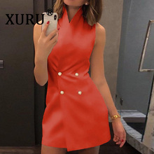XURU spring new women's sexy sleeveless stand collar dress fashion double-breasted dress white orange gray dress turtleneck sleeveless slit double breasted dress