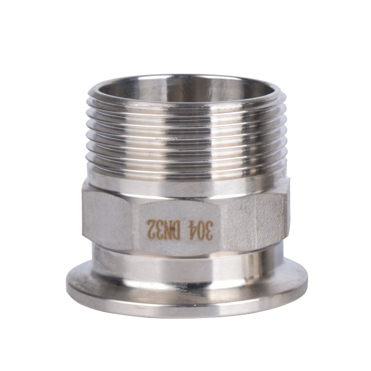 304 Stainless Steel Sanitary Male BSPT Threaded Ferrule Pipe Fitting Tri Clamp Type DN20 DN25 DN32 DN40 DN50 1/2