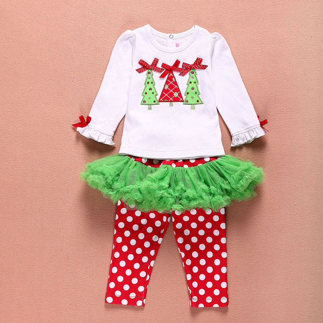 Girls Christmas baby Clothing sets T shirt Pant Girls