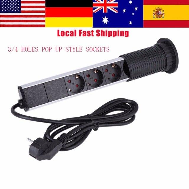 3/4 Holes 250V Pop Up Style Sockets Electrical Tensile Power Outlet Plug Socket For Worktop Desk Home Pull USB Table Top Socket