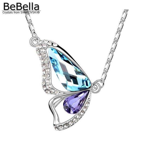 BeBella papillon pendentif collier strass collier Fait avec Cristaux de  Swarovski pour les femmes fille enfants