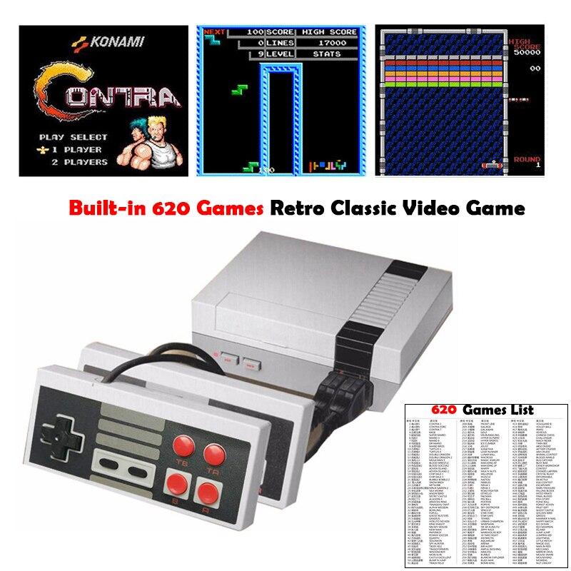 (EUA/REINO UNIDO/Plug UE) saída AV Retro Classic Video Game Console Embutido 620 Jogos Bit 8 Família TV handheld do jogo Gamepad Duplo