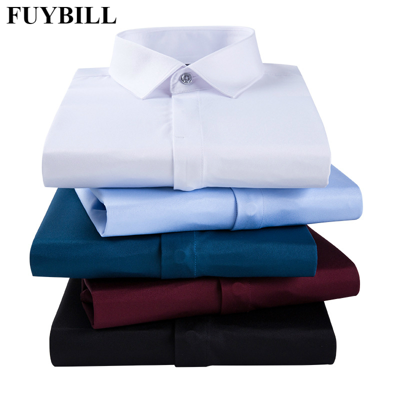 FuyBill Spring New Style Mens Business Wear Long Sleeve Single-breasted Placket Shirt Mens Business Non-iron Stretch Shirt
