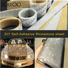 Aluminum Glass Crystal mesh Applique Self-Adhesive Strass Mesh Banding In  Roll For Wedding Dresses Crafts SOWOO 0173c07ba308