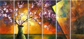 6 pcs Hand painted oil painting Plum blossom in the vase II-Modern Canvas Painting Wall Decor-Floral Oil Painting Wall Art
