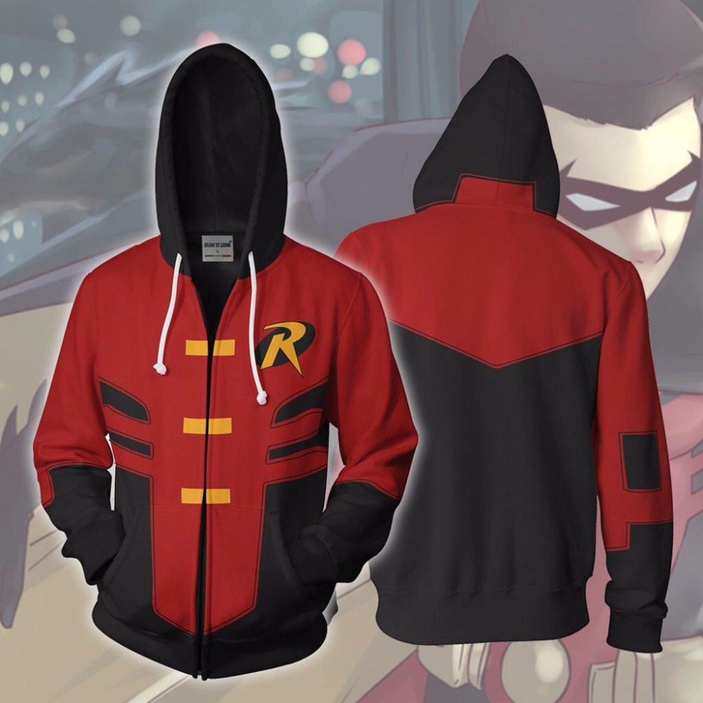 BIANYILONG 2019 New Hoodies Robin Tim Drake Young Justice Zip Up Hoodie Robin Tim Drake 3D Printed Zipper Hoodies Tops