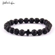 Little MingLou New Trendy jesus cross Charm men bracelets Black Lava Stone 8mm Beads Bracelets & Bangles for women Jewelry