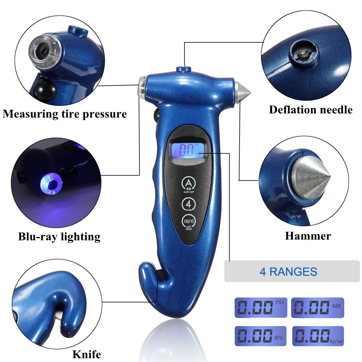 5 in 1 Digital Tire Pressure Gauge Night Lighting Glass Hammer Safety Belt Knife Tire Deflatio LCD for Car Truck Motorcyle