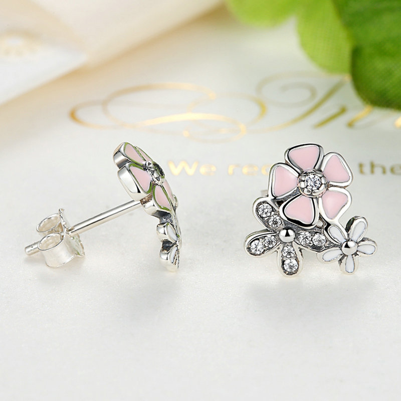 Homod silver color poetic daisy cherry blossom pandora drop earrings homod silver color poetic daisy cherry blossom pandora drop earrings mixed clear cz pink flower women engagement in drop earrings from jewelry mightylinksfo