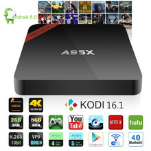 Nexbox s905x a95x tv box amlogic quad core 2 gb/8 gb set top caja WiFi Bluetooth 4.0 Kodi 16.1 Streaming Media Player con Control Remoto