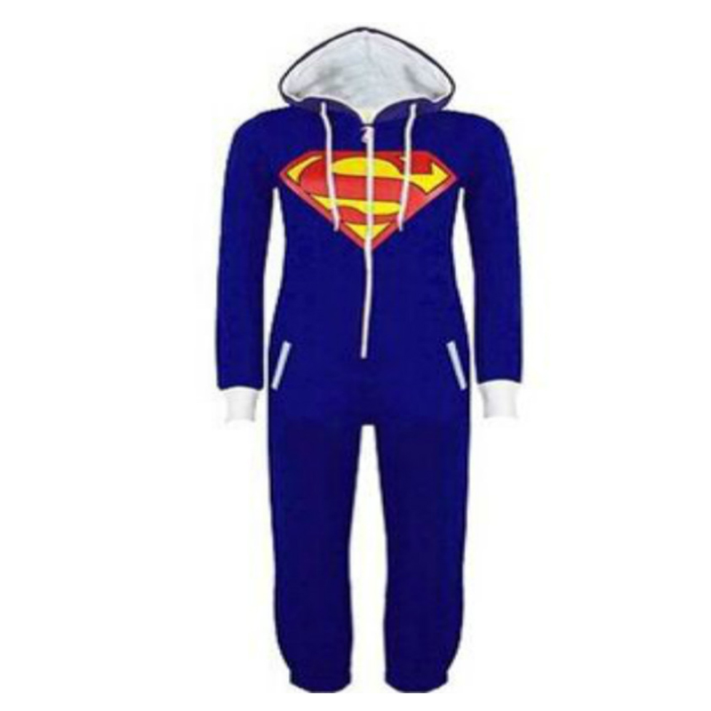 Fashuion Unisex Superman Pyjamas Sleepwear Sleepsuit  Adult Pajamas Mens women Batman one piece pajamas set  free shipping