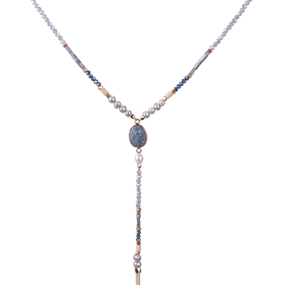 KELITCH Beads Necklace Jewelry stone necklace 1Pcs 2017 Newest Natural Pearl Gold Tassel Chain Sodalite For Women necklaces natural stone beads necklaces rope necklaces freeform large beads necklace fashion jewelry for party women gift
