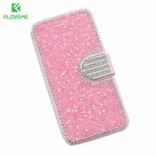 Floveme S7 край защитить телефон случае Модные Блестящие Алмазный блеск задняя крышка для Samsung Galaxy S7 край бумажник флип кожаный Сумка