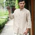 Лето китайская народная стиль мода литературный ретро чистая белье мужские рубашки мужские рубашки мужчины рубашка