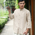 Verano chino estilo popular moda literaria retro hombres camisas de la camisa de los hombres camisa de lino puro