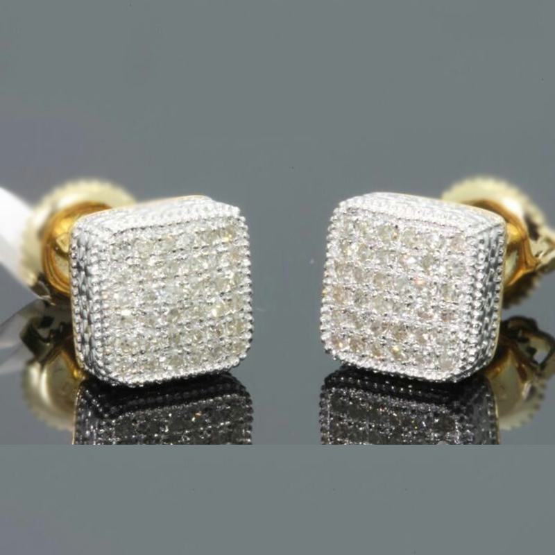 Gold Color Iced Out Square Bling Stud Earring Men Hip Hop Luxury Rhinestone Geometry Stud Earrings For Women Jewelry Z3M130