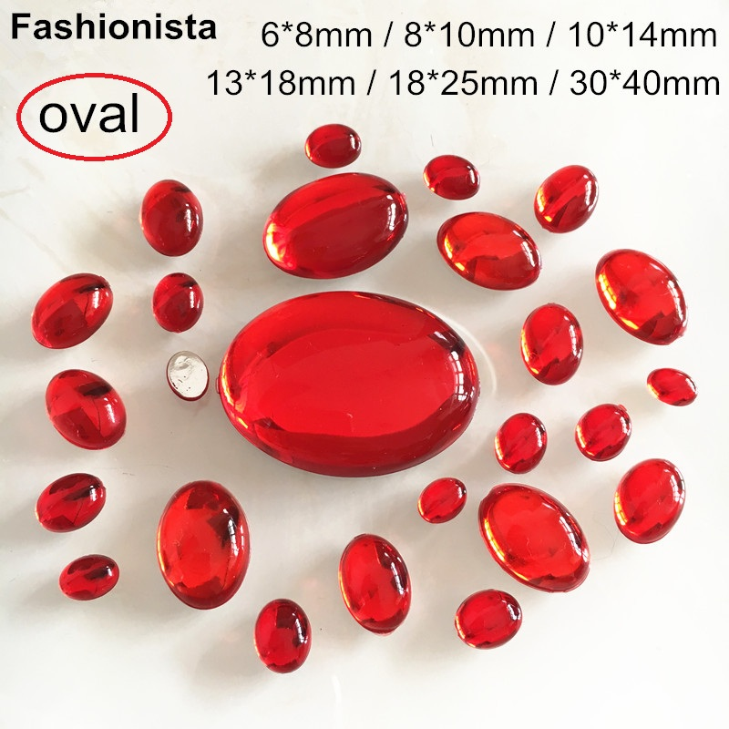 Acrylic Flat-back Oval 30x40mm Dark Red Color Stone No Hole 2 pcs