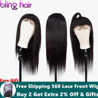 Bling Hair 4*4 Lace Front Human Hair Wigs with Baby Hair Malaysian Straight Lace Closure Wig Bleached Knots Remy Natural Color
