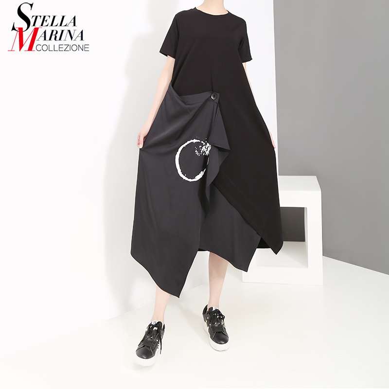 New 2019 Korean Style Women Summer Black T shirt Dress Short Sleeve Extra Layer Stitched Girls