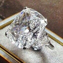AAA Gelişmiş Zirkon Beyaz Kristal Yüzük, Kare Geometri Lüks Kadın Akşam Yemeği/Nişan/Parti Yıldönümü, yıldönümü yüzüğü 6-10