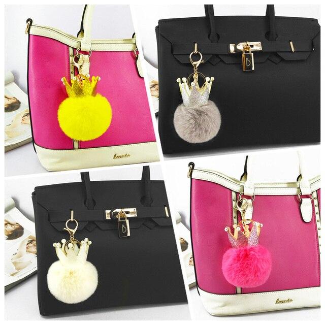 Śliczne cekiny korona pompon breloczki Handmade Puffy brelok z piłką torba wiszące dekoracje biżuteria wisiorek do kluczy dla dzieci zabawki prezent