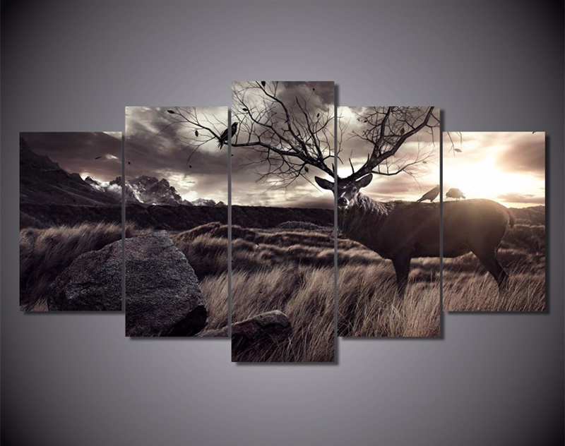 5 plane wall poster painting calligraphy animal scenery for Deer scenery