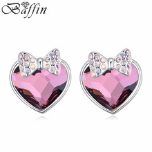 2015 New Retro Crystal Heart Stud Earrings Made with Swarovski ELements women Bijoux for Wedding Party(China)