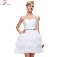 One Shoulder White Bridesmaid Dress 2016 Grace Karin Aqua Blue Purple Bridesmaid Dresses Short Ball Gown