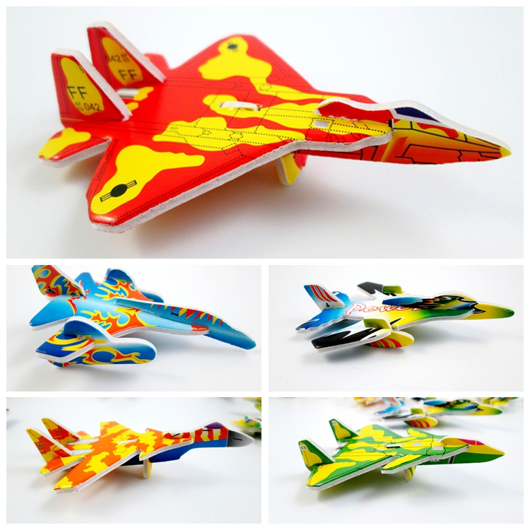 18pcs/lot Mini Fighter Aircraft Plane Model Paper 3D Puzzles Toys For Children Gift Intelligence Toys