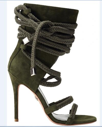 31ae01828ac1a3 Fashion 2019 summer high heel sandals open toe sandals for women cut outs  design lace up army green ankle boots runway sandals -in High Heels from  Shoes on ...
