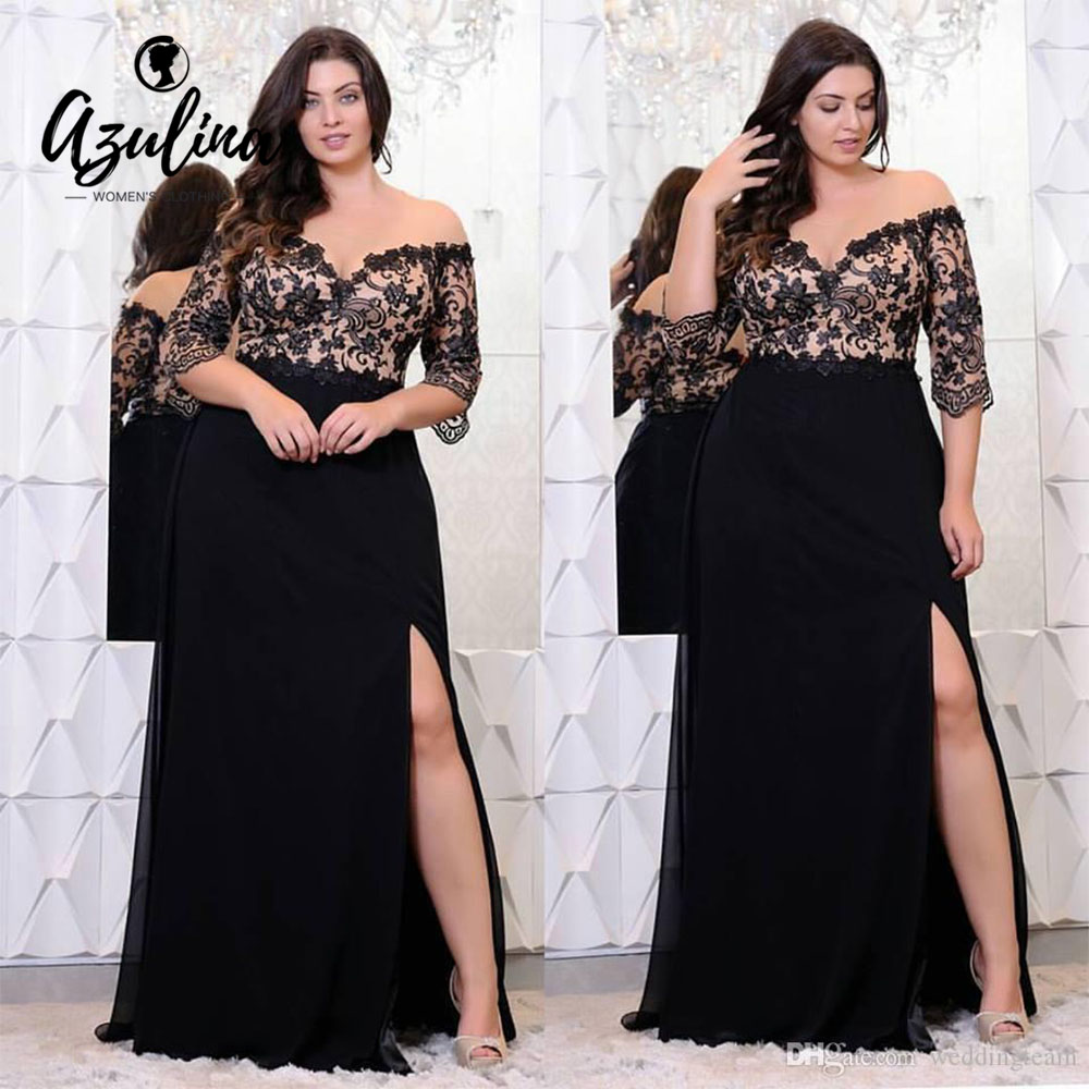 Plus Size Lace Applique Floor Length Dress Women Elegant Off The Shoulder 3/4 Sleeves A-Line Dress Vestido Party Dresses