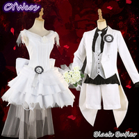 Pre Sale Anime Cosplay Black Butler Ciel Phantomhive and Elizabeth Lizzy Cosplay Costume White Wedding Dress