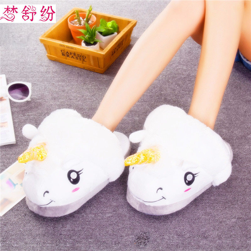 Winter Plush Unicorn Slippers Cute Funny Men Adult Slippers Women Home Shoes Warm Cotton With Heel For Women Men Adults Child slipper