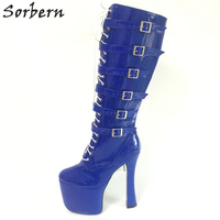 Sorbern Blue Knee High Boots Shoes Women 20Cm Platform Heels New Arrival 2018 High Heels Size 45 Square Toes Booties Multi Color