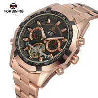 Forsining Brand Business Men's Watch Gold Full Stainless Steel Automatic Mechanical Toubilion Wrist Watches Relogio Masculino