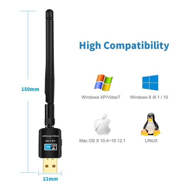 TEROW USB Wifi Adapter 5.8GHz + 2.4GHz Ricevitore Wi-Fi Ad Alta Velocità 600Mbps Wi-Fi Antenna Wireless di Rete del PC carta 802.11ac 5