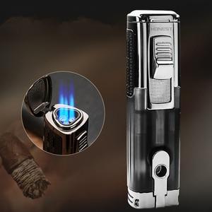 Image 1 - Encendedor Turbo potente de Triple antorcha a prueba de viento, encendedor de Gas de tubo con chorro de fuego, Metal con cortador de puros, PISTOLA DE PULVERIZACIÓN 1300 C butano