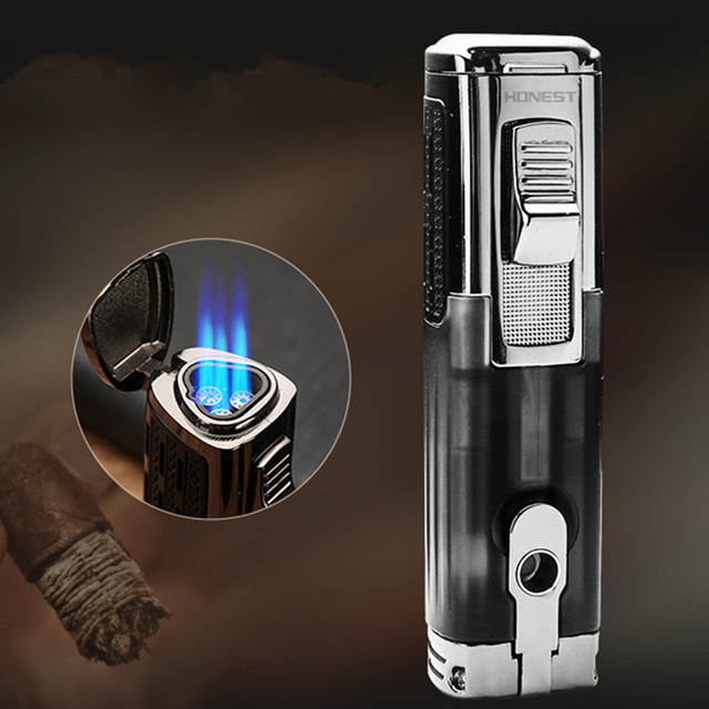 Powerful Windproof Triple Torch Turbo Lighter Fire Jet Pipe Gas Lighter Metal With Cigar Cutter Pen Spray Gun 1300 C Butane