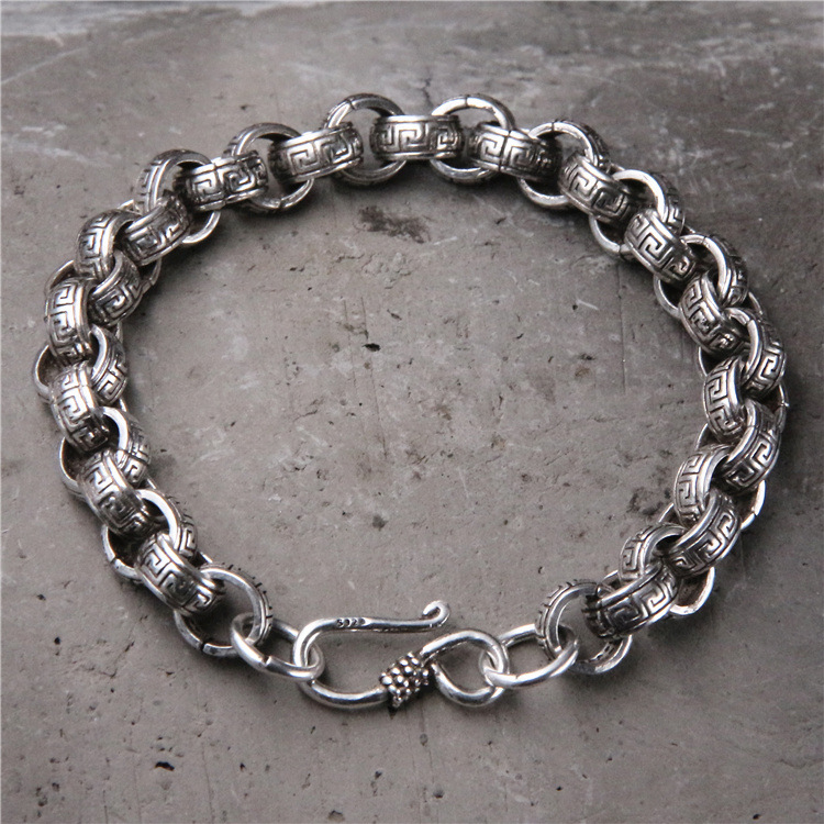 Starfield S925 Sterling Silver Circle Circle Buckle Personality Tyan Silver Retro Great Wall Pattern men's Bracelet