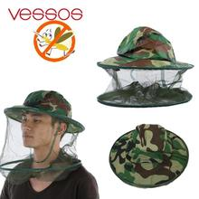 VESSOS Outoodr Camping Hunting Insect Mosquito Bug Bee Hat Camouflage Face Protector Mesh Cap Fishing Mesh Hat
